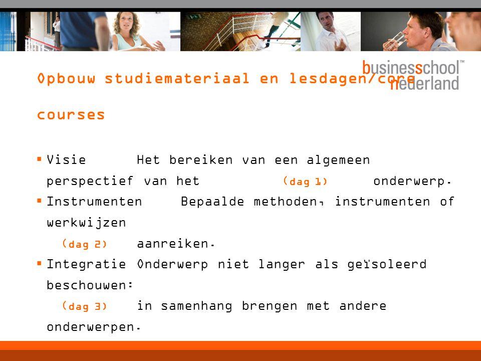 Opbouw studiemateriaal en lesdagen/core courses  VisieHet bereiken van een algemeen perspectief van het ( dag 1) onderwerp.  InstrumentenBepaalde me