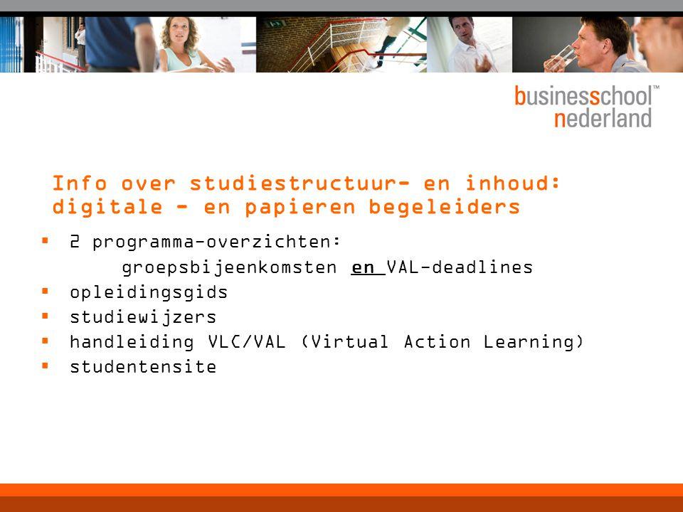 Info over studiestructuur- en inhoud: digitale - en papieren begeleiders  2 programma-overzichten: groepsbijeenkomsten en VAL-deadlines  opleidingsg