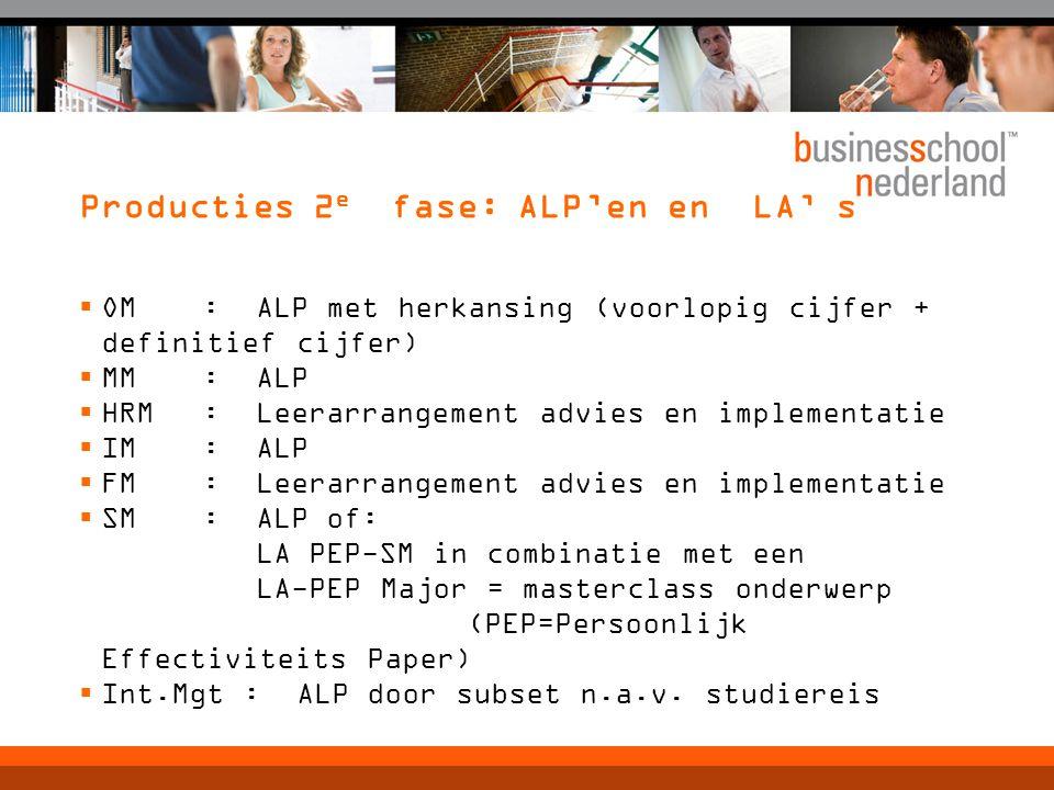Producties 2 e fase: ALP'en en LA' s  OM : ALP met herkansing (voorlopig cijfer + definitief cijfer)  MM : ALP  HRM : Leerarrangement advies en imp