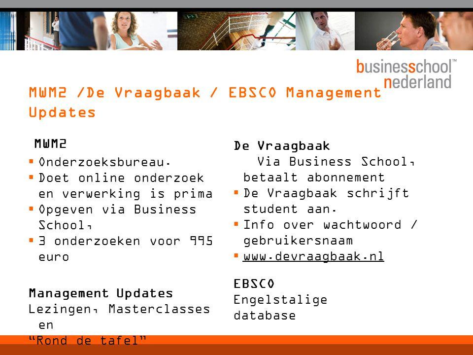 MWM2 /De Vraagbaak / EBSCO Management Updates MWM2  Onderzoeksbureau.  Doet online onderzoek en verwerking is prima  Opgeven via Business School, 