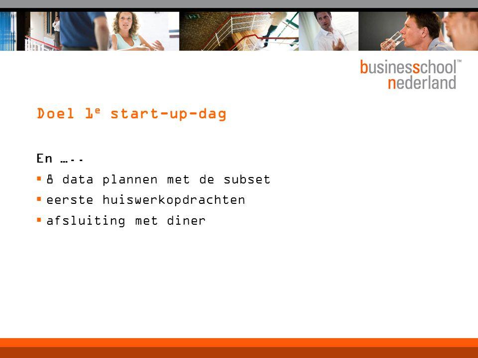 Doel 1 e start-up-dag En …..  8 data plannen met de subset  eerste huiswerkopdrachten  afsluiting met diner