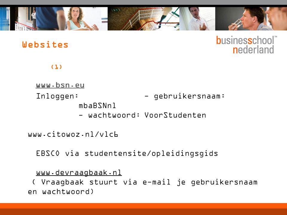 Websites (1) www.bsn.eu Inloggen: - gebruikersnaam: mbaBSNnl - wachtwoord:VoorStudenten www.citowoz.nl/vlc6 EBSCO via studentensite/opleidingsgids www