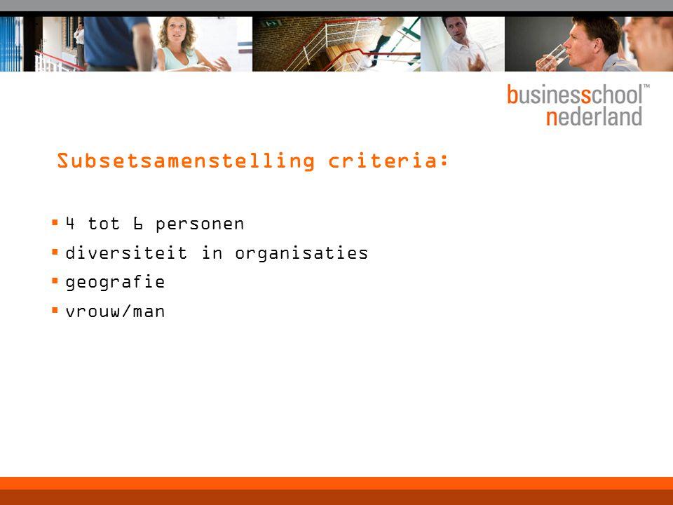 Subsetsamenstelling criteria:  4 tot 6 personen  diversiteit in organisaties  geografie  vrouw/man