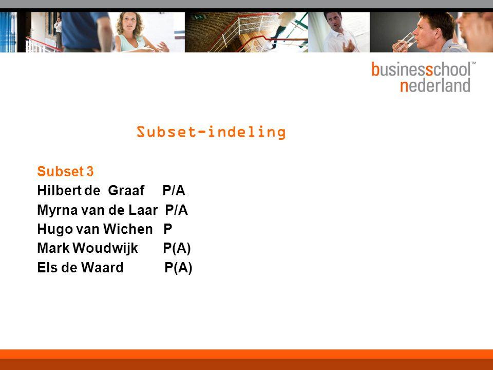 Subset-indeling Subset 3 Hilbert de Graaf P/A Myrna van de Laar P/A Hugo van Wichen P Mark Woudwijk P(A) Els de Waard P(A)