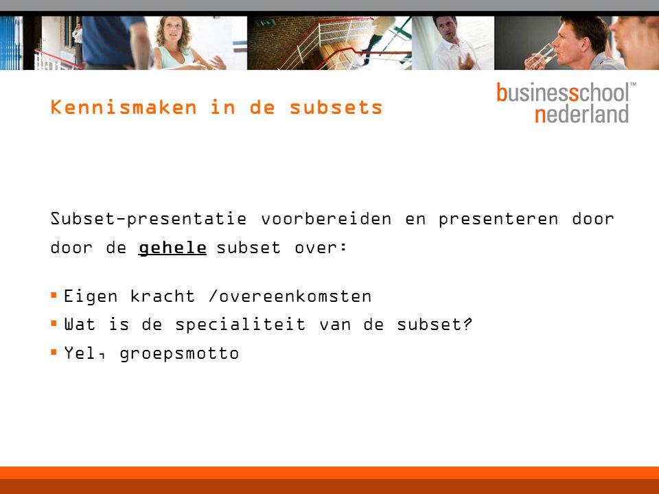 Kennismaken in de subsets Subset-presentatie voorbereiden en presenteren door door de gehele subset over:  Eigen kracht /overeenkomsten  Wat is de s