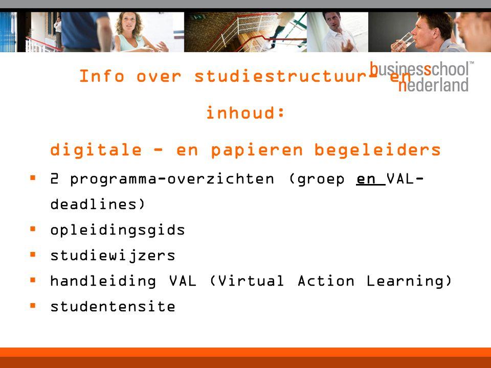 Info over studiestructuur- en inhoud: digitale - en papieren begeleiders  2 programma-overzichten (groep en VAL- deadlines)  opleidingsgids  studiewijzers  handleiding VAL (Virtual Action Learning)  studentensite