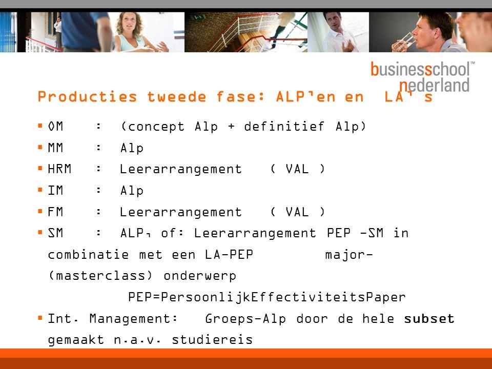 Producties tweede fase: ALP'en en LA' s  OM : (concept Alp + definitief Alp)  MM : Alp  HRM : Leerarrangement ( VAL )  IM : Alp  FM : Leerarrangement ( VAL )  SM : ALP, of: Leerarrangement PEP -SM in combinatie met een LA-PEP major- (masterclass) onderwerp PEP=PersoonlijkEffectiviteitsPaper  Int.