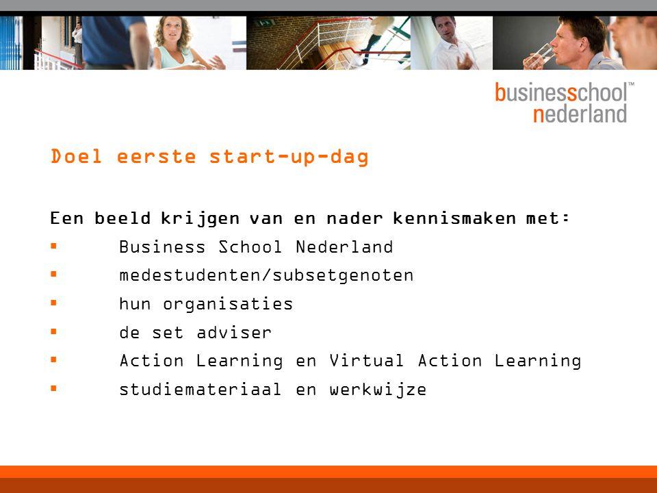 Doel eerste start-up-dag Een beeld krijgen van en nader kennismaken met:  Business School Nederland  medestudenten/subsetgenoten  hun organisaties  de set adviser  Action Learning en Virtual Action Learning  studiemateriaal en werkwijze
