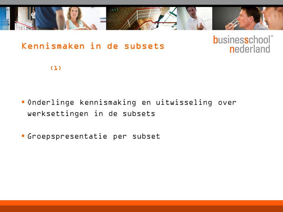 Kennismaken in de subsets (1)  Onderlinge kennismaking en uitwisseling over werksettingen in de subsets  Groepspresentatie per subset