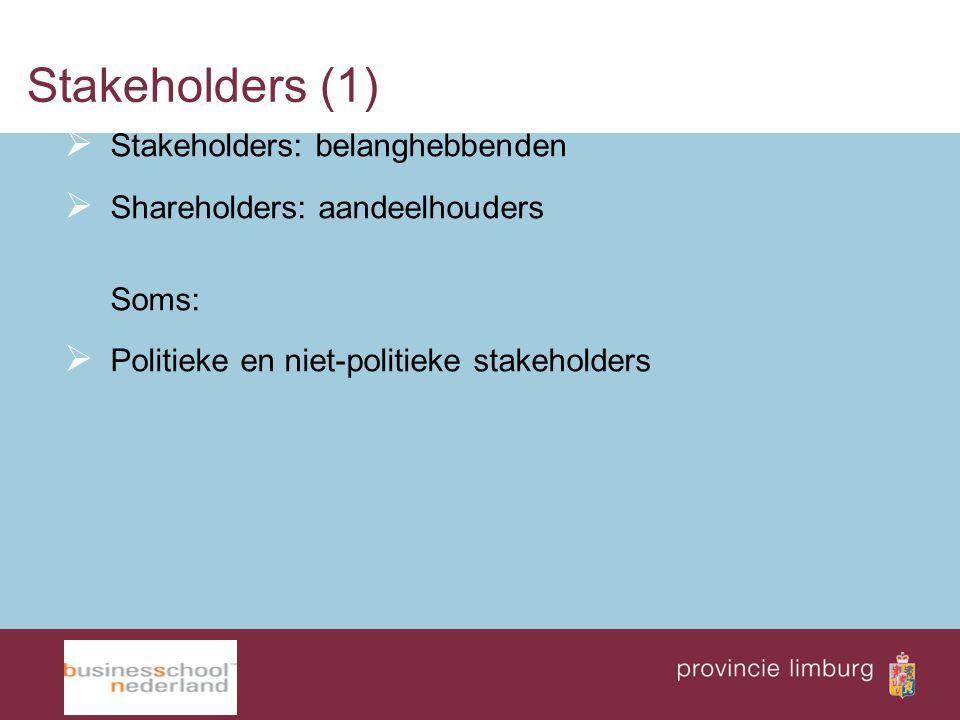 Stakeholders (1)  Stakeholders: belanghebbenden  Shareholders: aandeelhouders Soms:  Politieke en niet-politieke stakeholders