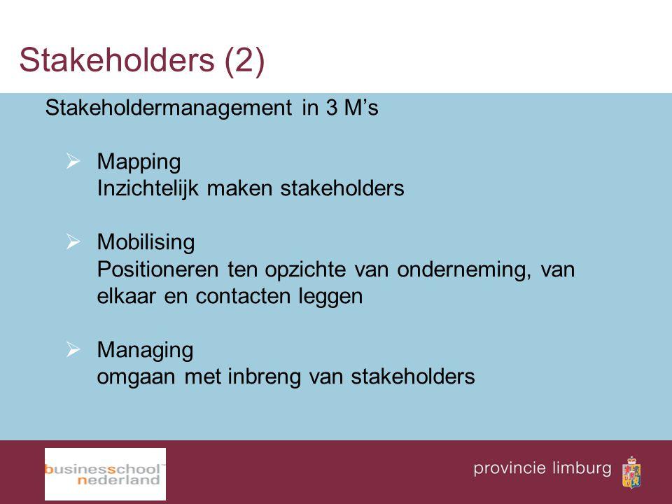 Stakeholders (2) Stakeholdermanagement in 3 M's  Mapping Inzichtelijk maken stakeholders  Mobilising Positioneren ten opzichte van onderneming, van