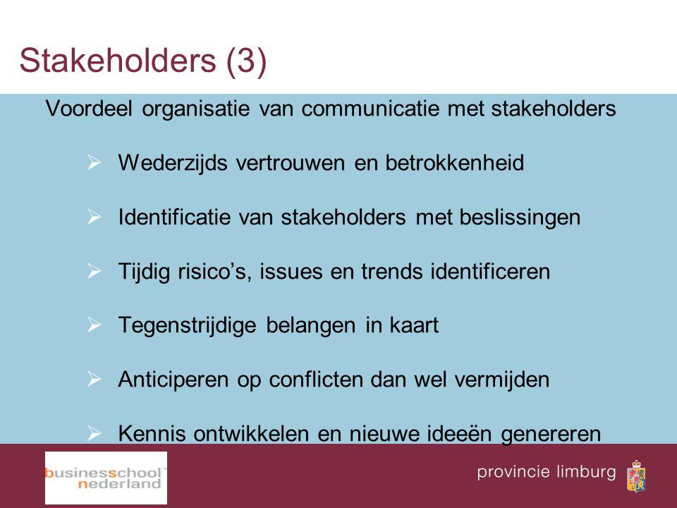 Stakeholders (3) Voordeel organisatie van communicatie met stakeholders  Wederzijds vertrouwen en betrokkenheid  Identificatie van stakeholders met