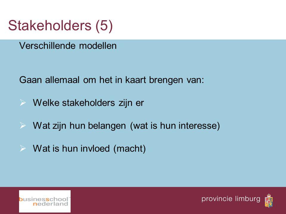 Stakeholders (5) Verschillende modellen Gaan allemaal om het in kaart brengen van:  Welke stakeholders zijn er  Wat zijn hun belangen (wat is hun in