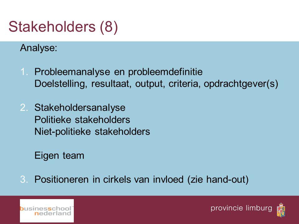 Stakeholders (8) Analyse: 1.Probleemanalyse en probleemdefinitie Doelstelling, resultaat, output, criteria, opdrachtgever(s) 2.Stakeholdersanalyse Pol