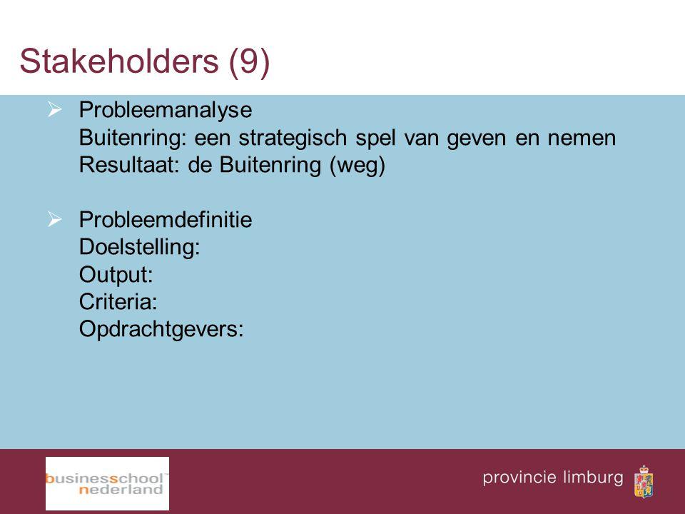 Stakeholders (9)  Probleemanalyse Buitenring: een strategisch spel van geven en nemen Resultaat: de Buitenring (weg)  Probleemdefinitie Doelstelling