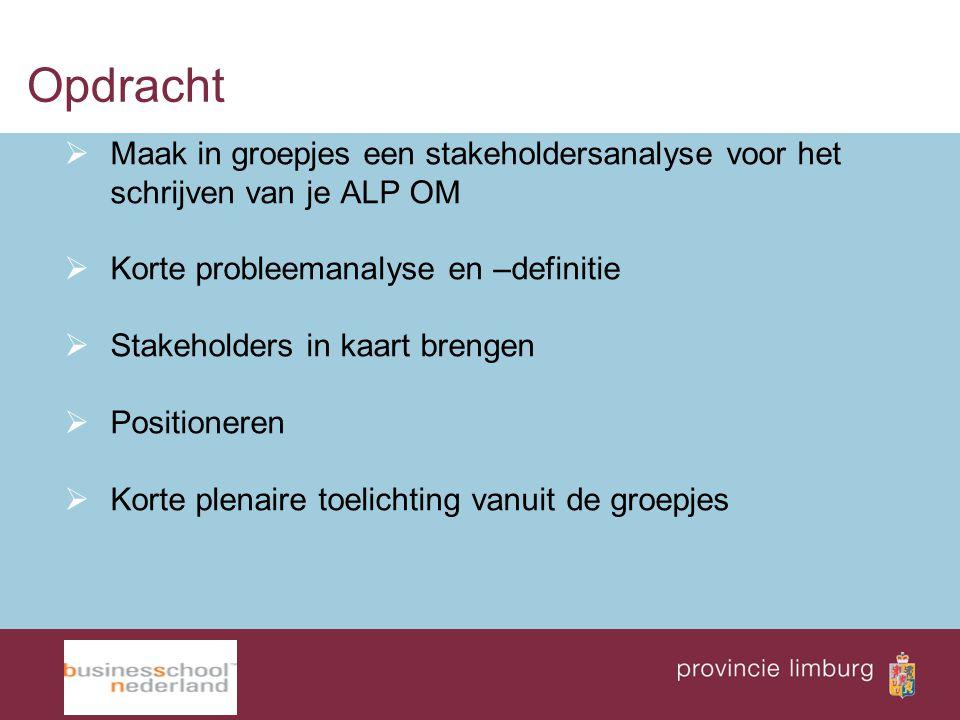Opdracht  Maak in groepjes een stakeholdersanalyse voor het schrijven van je ALP OM  Korte probleemanalyse en –definitie  Stakeholders in kaart bre