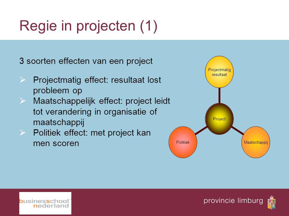 Regie in projecten (1) 3 soorten effecten van een project  Projectmatig effect: resultaat lost probleem op  Maatschappelijk effect: project leidt to