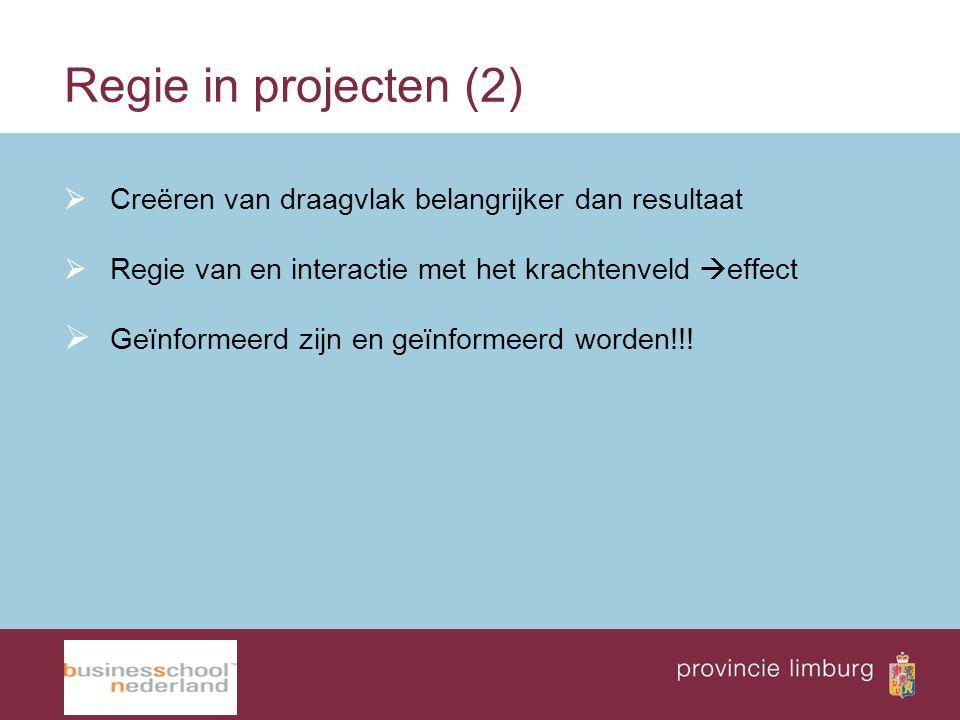 Regie in projecten (2)  Creëren van draagvlak belangrijker dan resultaat  Regie van en interactie met het krachtenveld  effect  Geïnformeerd zijn