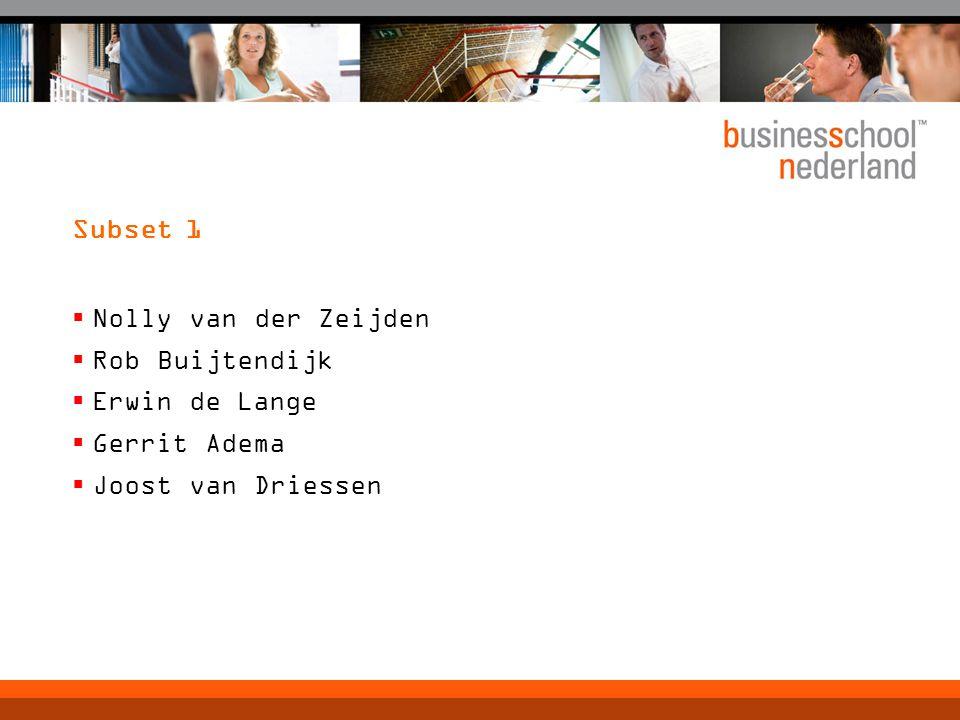Subset 1  Nolly van der Zeijden  Rob Buijtendijk  Erwin de Lange  Gerrit Adema  Joost van Driessen