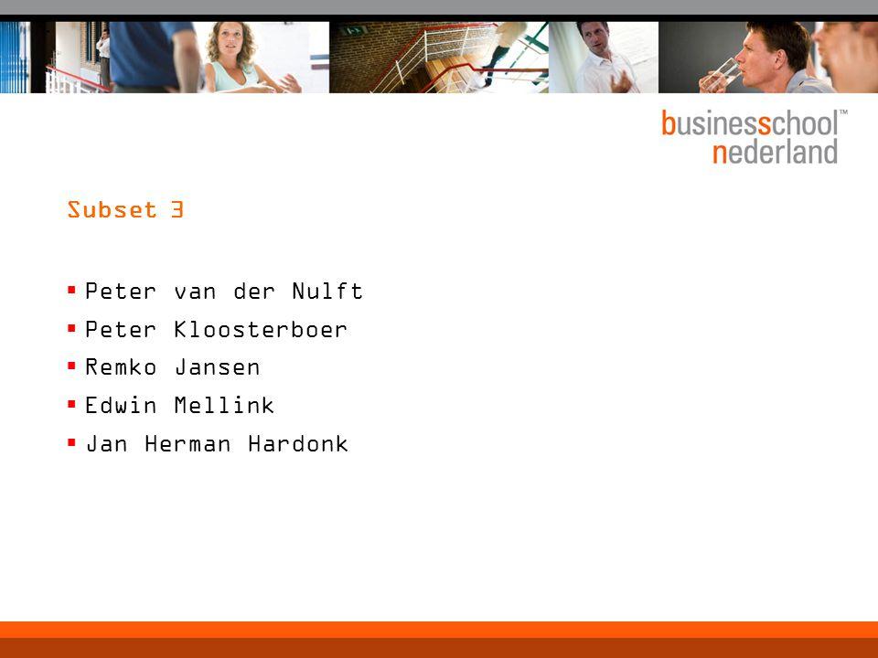 Subset 3  Peter van der Nulft  Peter Kloosterboer  Remko Jansen  Edwin Mellink  Jan Herman Hardonk