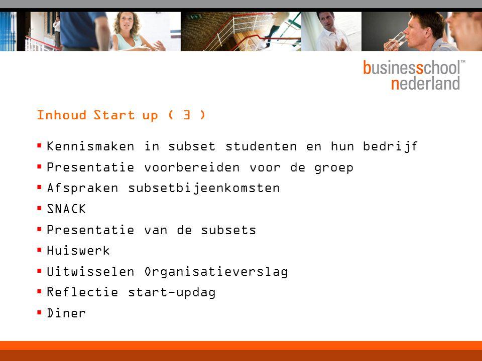 Doel start up (1)  Nader kennismaken met: Business School Nederland………  Studenten, dus set en subsets  Organisaties van studenten  Set adviser(s)  Action Learning en Virtual Action Learning  Materiaal en werkwijze van de studie