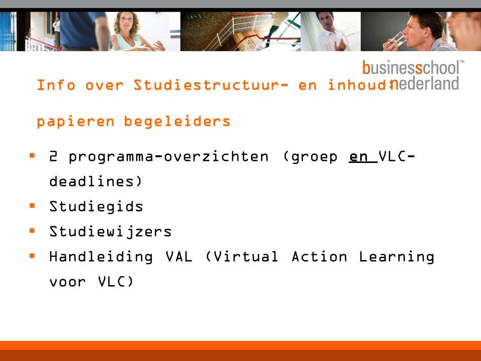 Info over Studiestructuur- en inhoud: papieren begeleiders  2 programma-overzichten (groep en VLC- deadlines)  Studiegids  Studiewijzers  Handleiding VAL (Virtual Action Learning voor VLC)