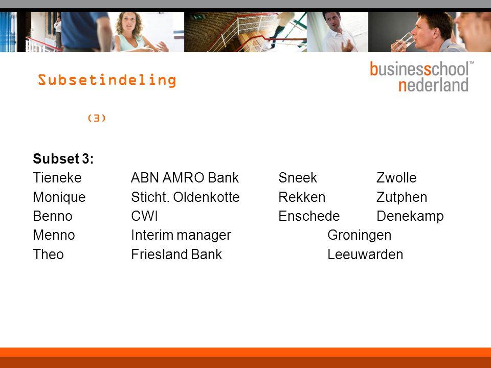 Subsetindeling (3) Subset 3: TienekeABN AMRO BankSneekZwolle MoniqueSticht.