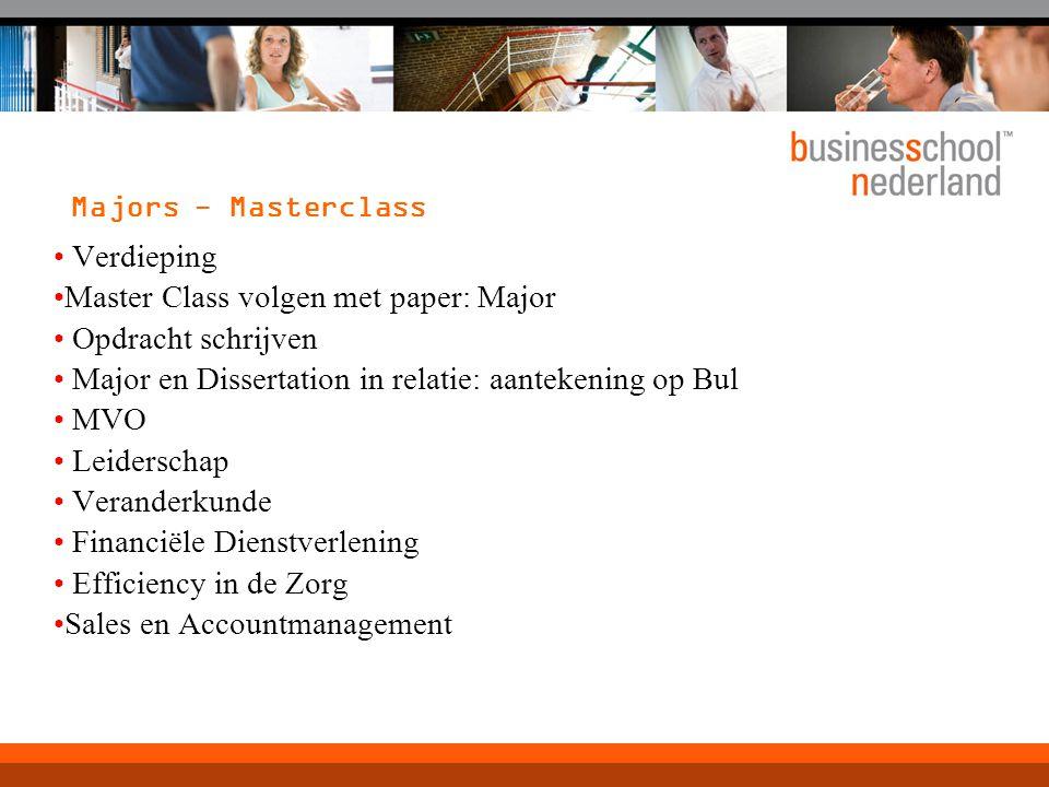 Verdieping Master Class volgen met paper: Major Opdracht schrijven Major en Dissertation in relatie: aantekening op Bul MVO Leiderschap Veranderkunde