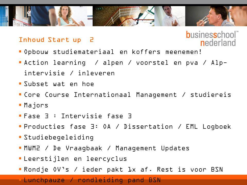 Inhoud Start up 2  Opbouw studiemateriaal en koffers meenemen!  Action learning / alpen / voorstel en pva / Alp- intervisie / inleveren  Subset wat