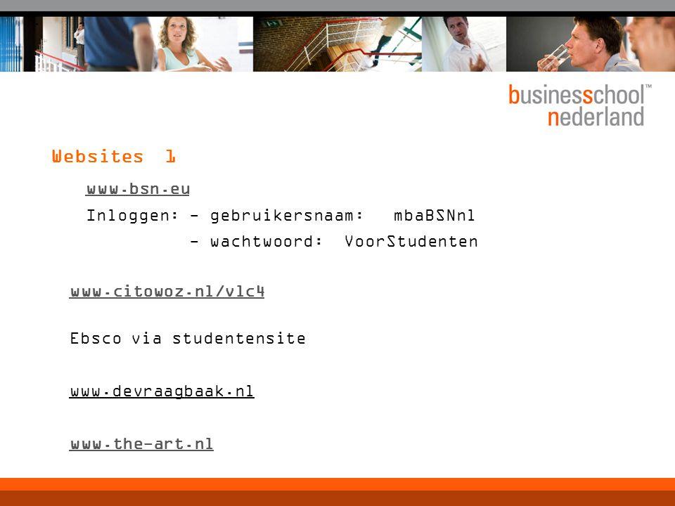 Websites 1 www.bsn.eu Inloggen: - gebruikersnaam:mbaBSNnl - wachtwoord:VoorStudenten www.citowoz.nl/vlc4 Ebsco via studentensite www.devraagbaak.nl ww