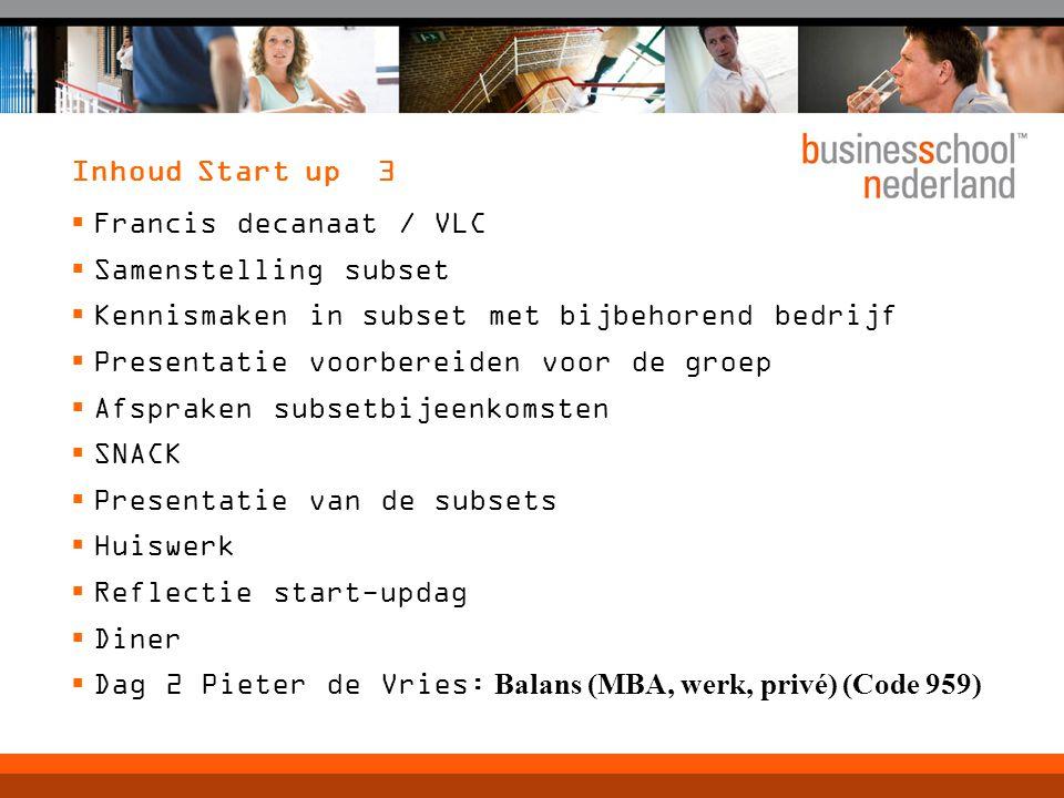 Inhoud Start up 3  Francis decanaat / VLC  Samenstelling subset  Kennismaken in subset met bijbehorend bedrijf  Presentatie voorbereiden voor de g