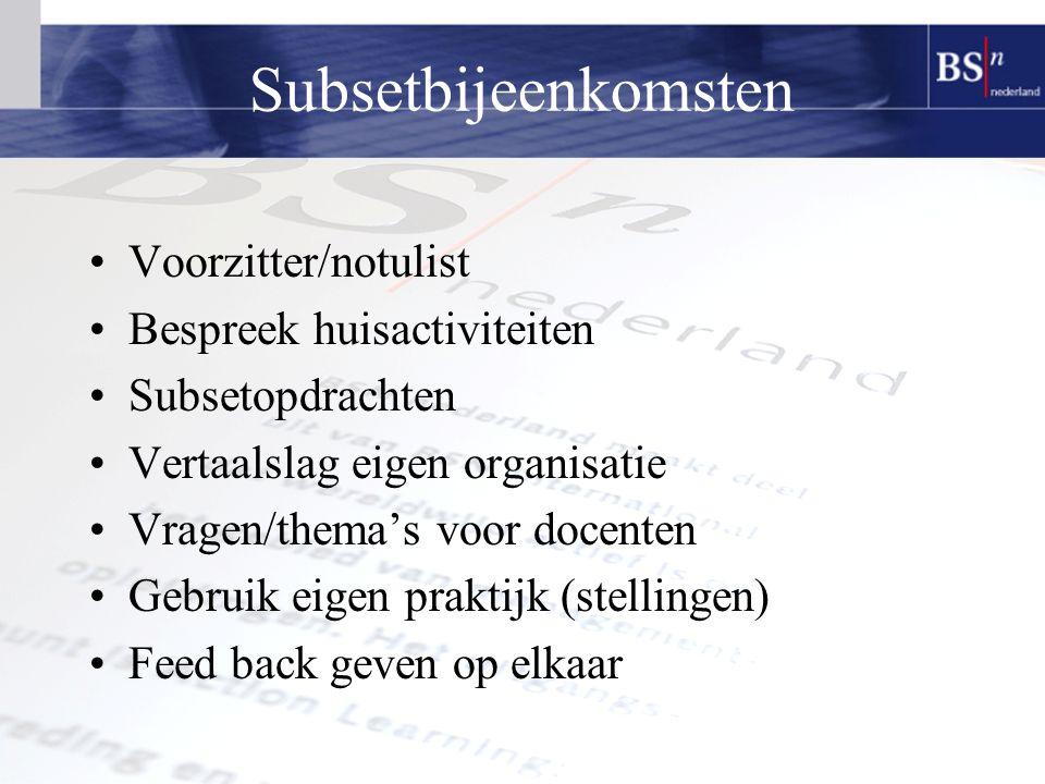 Subsetbijeenkomsten Voorzitter/notulist Bespreek huisactiviteiten Subsetopdrachten Vertaalslag eigen organisatie Vragen/thema's voor docenten Gebruik eigen praktijk (stellingen) Feed back geven op elkaar