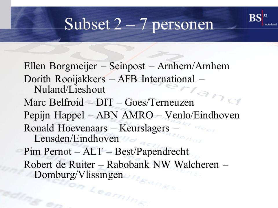 Subset 2 – 7 personen Ellen Borgmeijer – Seinpost – Arnhem/Arnhem Dorith Rooijakkers – AFB International – Nuland/Lieshout Marc Belfroid – DIT – Goes/Terneuzen Pepijn Happel – ABN AMRO – Venlo/Eindhoven Ronald Hoevenaars – Keurslagers – Leusden/Eindhoven Pim Pernot – ALT – Best/Papendrecht Robert de Ruiter – Rabobank NW Walcheren – Domburg/Vlissingen