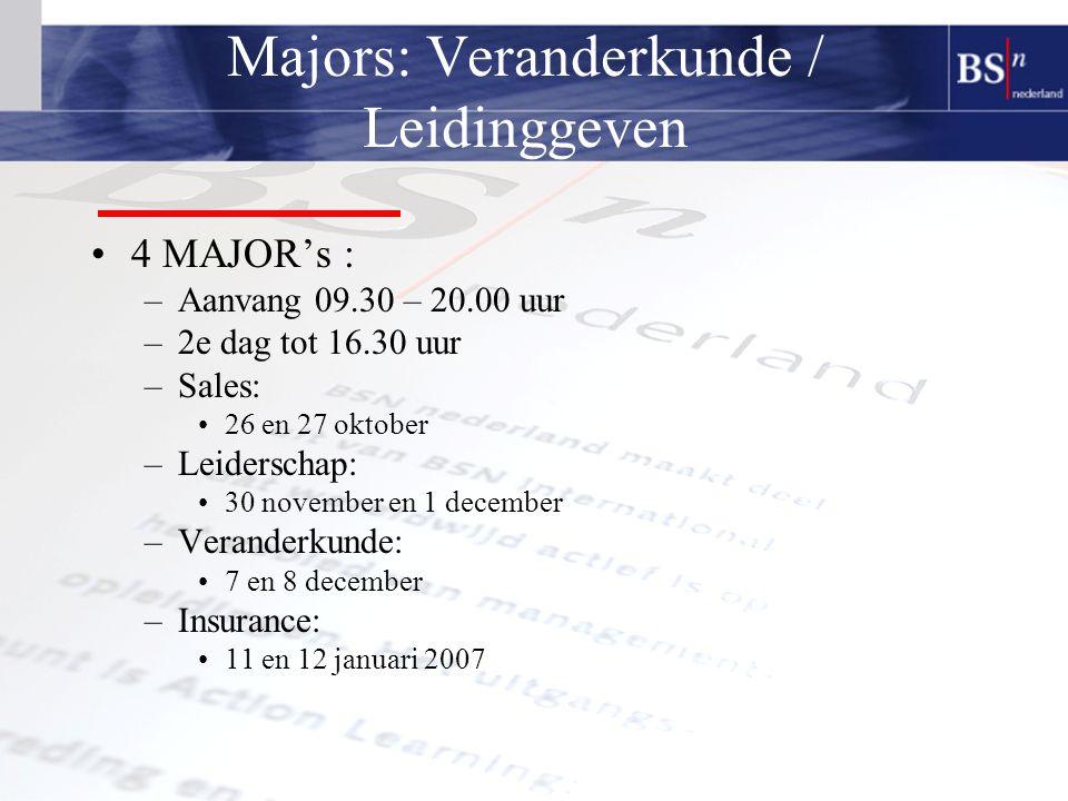 Majors: Veranderkunde / Leidinggeven 4 MAJOR's : –Aanvang 09.30 – 20.00 uur –2e dag tot 16.30 uur –Sales: 26 en 27 oktober –Leiderschap: 30 november en 1 december –Veranderkunde: 7 en 8 december –Insurance: 11 en 12 januari 2007