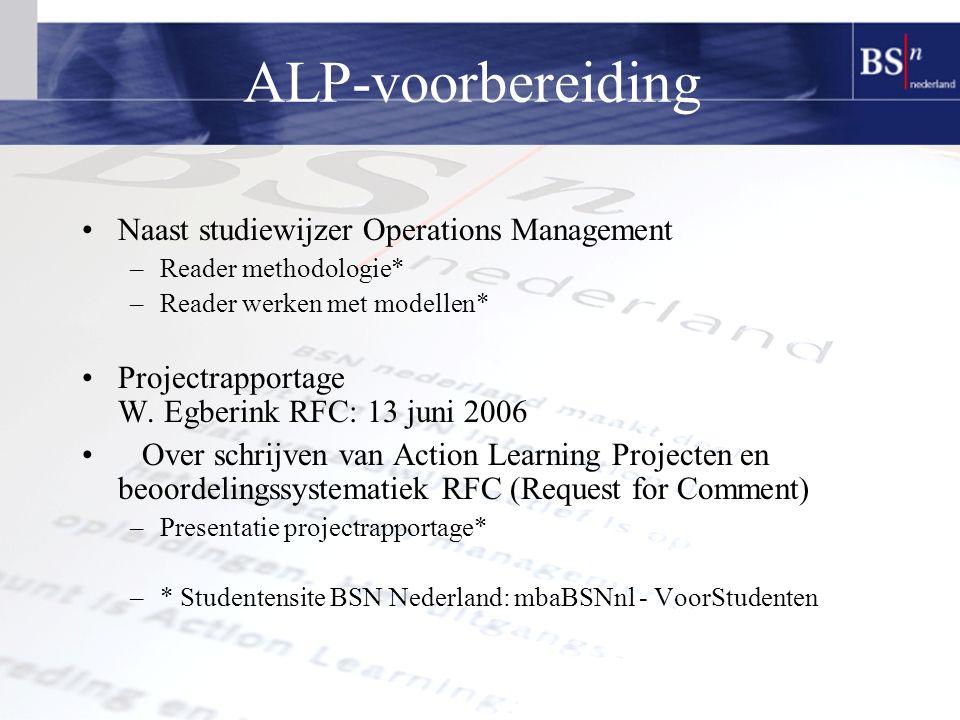 ALP-voorbereiding Naast studiewijzer Operations Management –Reader methodologie* –Reader werken met modellen* Projectrapportage W.