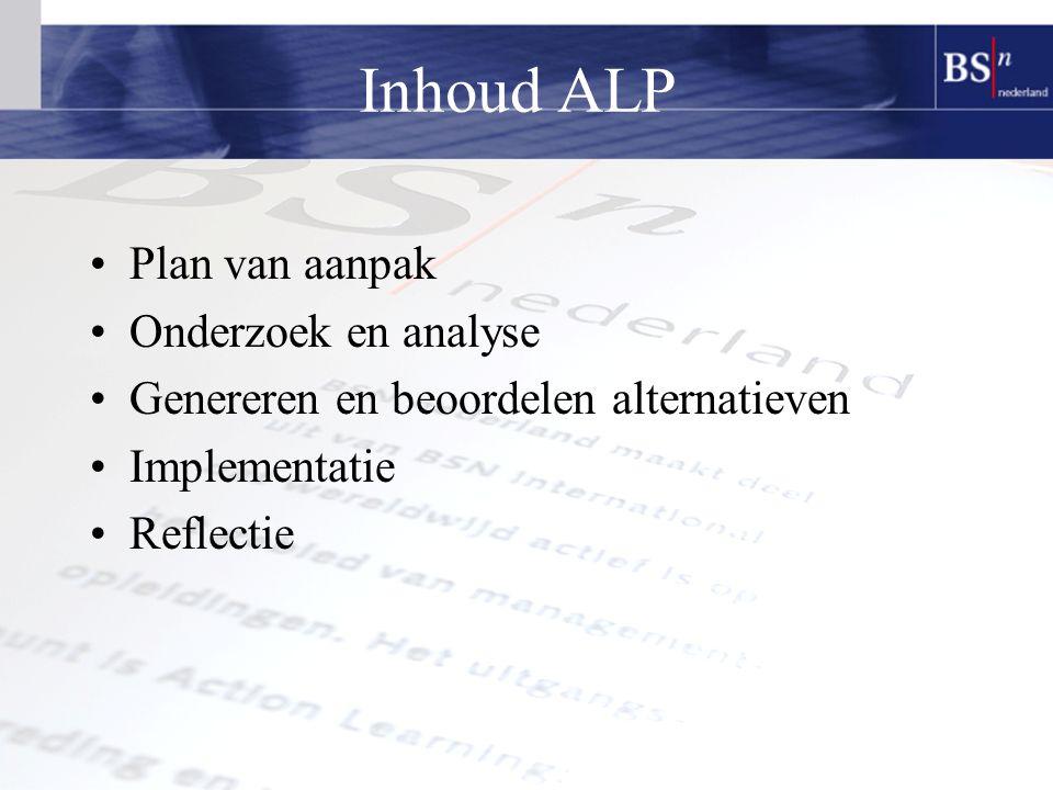 Inhoud ALP Plan van aanpak Onderzoek en analyse Genereren en beoordelen alternatieven Implementatie Reflectie
