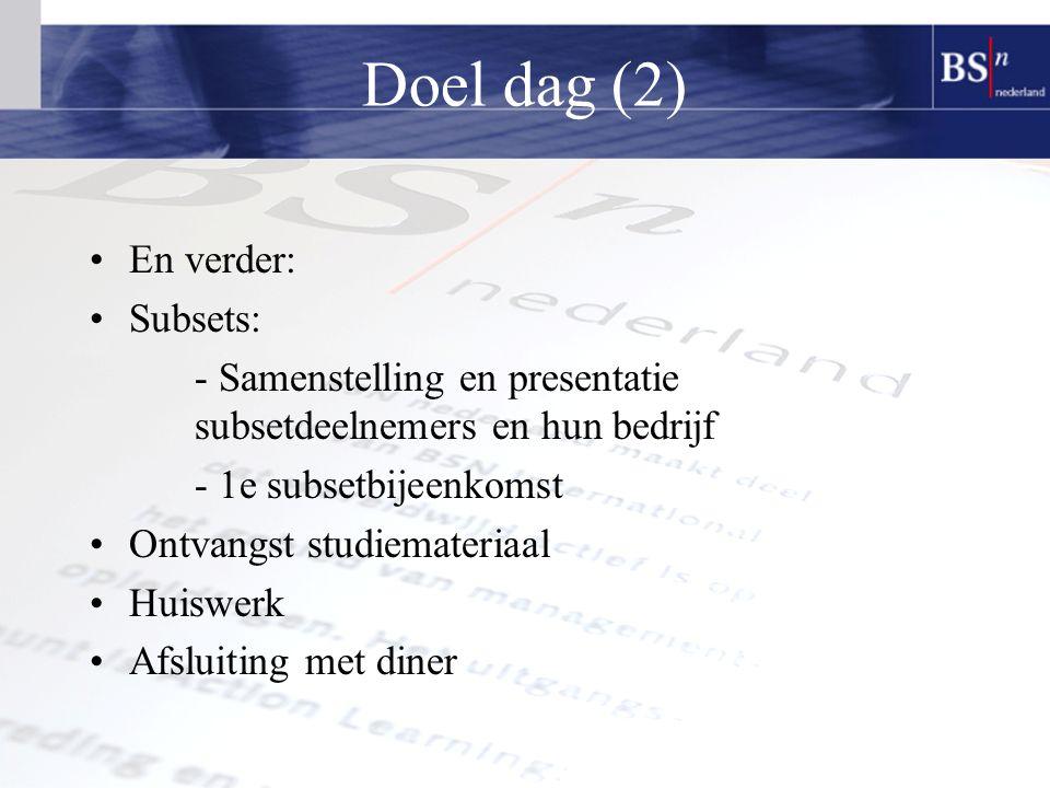 Doel dag (2) En verder: Subsets: - Samenstelling en presentatie subsetdeelnemers en hun bedrijf - 1e subsetbijeenkomst Ontvangst studiemateriaal Huiswerk Afsluiting met diner
