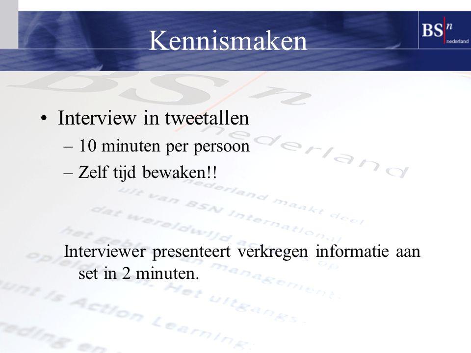 Kennismaken Interview in tweetallen –10 minuten per persoon –Zelf tijd bewaken!.