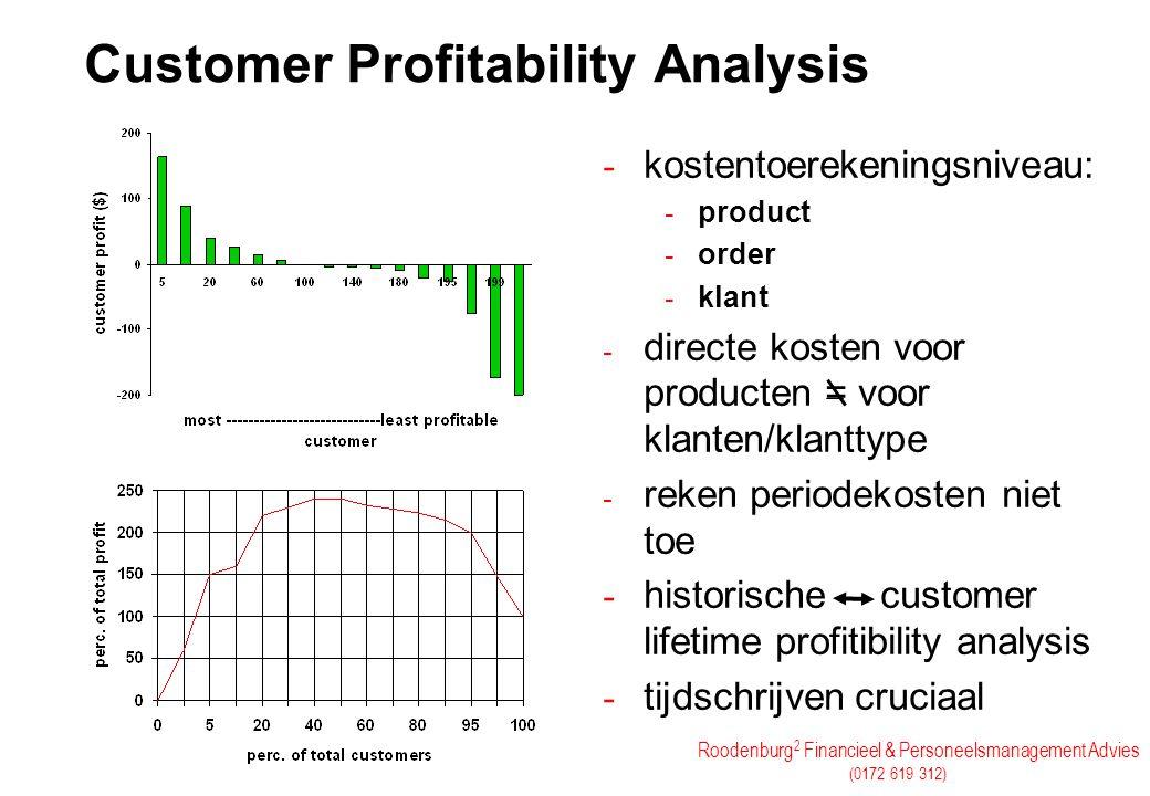 Roodenburg 2 Financieel & Personeelsmanagement Advies (0172 619 312) - kostentoerekeningsniveau: - product - order - klant - directe kosten voor produ