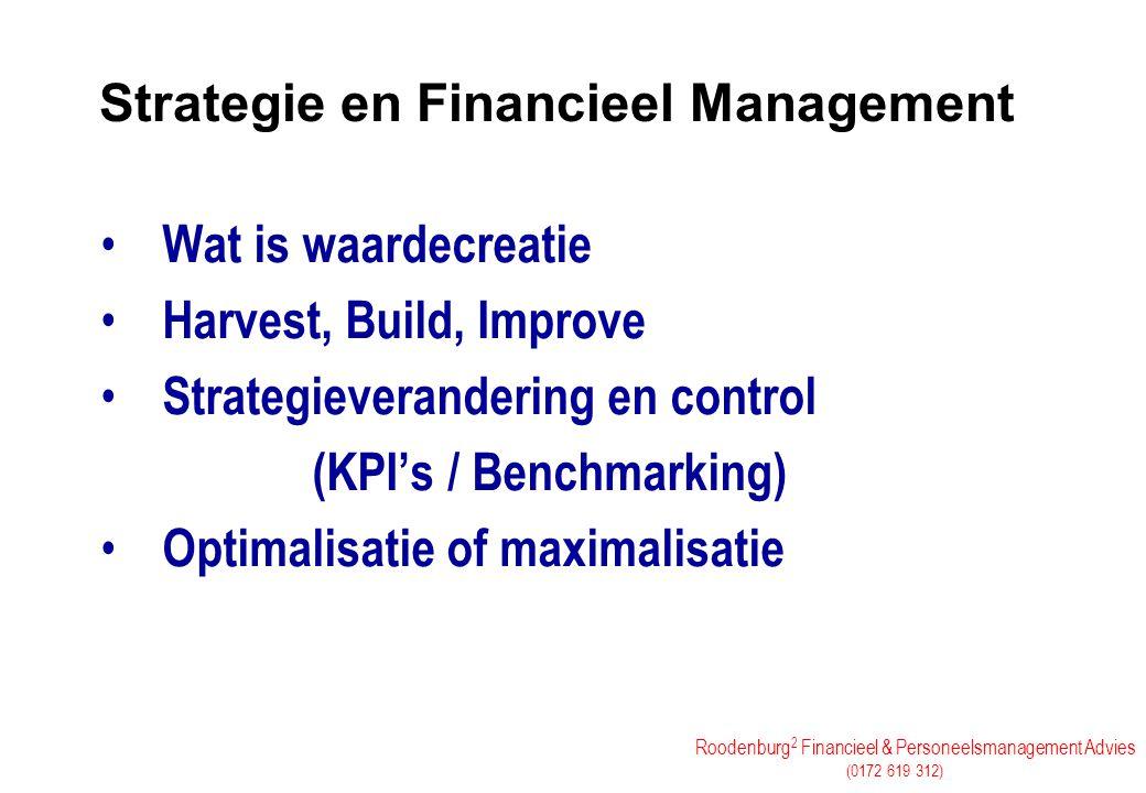 Roodenburg 2 Financieel & Personeelsmanagement Advies (0172 619 312) Strategie en Financieel Management Wat is waardecreatie Harvest, Build, Improve S