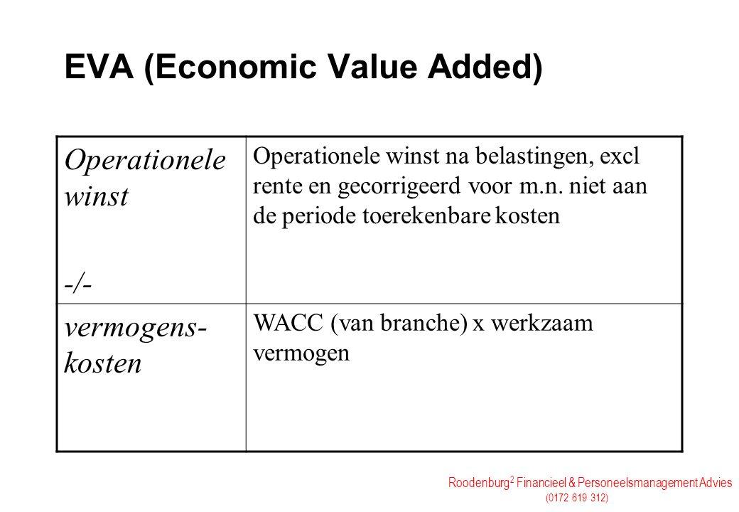 Roodenburg 2 Financieel & Personeelsmanagement Advies (0172 619 312) EVA (Economic Value Added) Operationele winst -/- Operationele winst na belasting