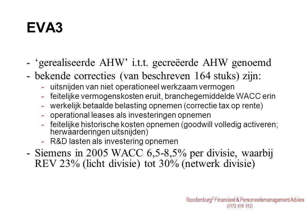 Roodenburg 2 Financieel & Personeelsmanagement Advies (0172 619 312) EVA3 -'gerealiseerde AHW' i.t.t. gecreëerde AHW genoemd -bekende correcties (van