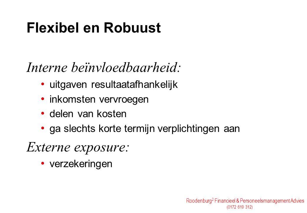 Roodenburg 2 Financieel & Personeelsmanagement Advies (0172 619 312) Flexibel en Robuust Interne beïnvloedbaarheid: uitgaven resultaatafhankelijk inko