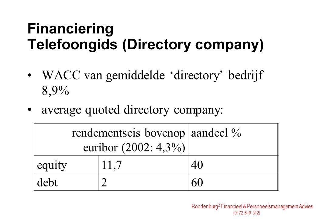 Roodenburg 2 Financieel & Personeelsmanagement Advies (0172 619 312) Financiering Telefoongids (Directory company) WACC van gemiddelde 'directory' bed
