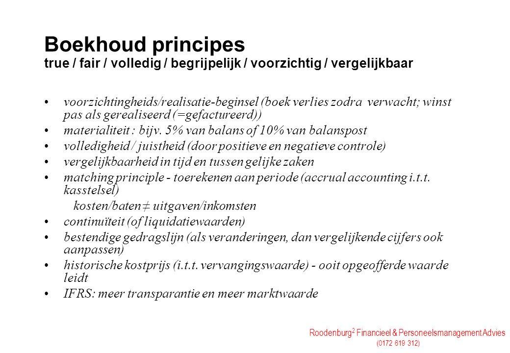 Roodenburg 2 Financieel & Personeelsmanagement Advies (0172 619 312) Boekhoud principes true / fair / volledig / begrijpelijk / voorzichtig / vergelij