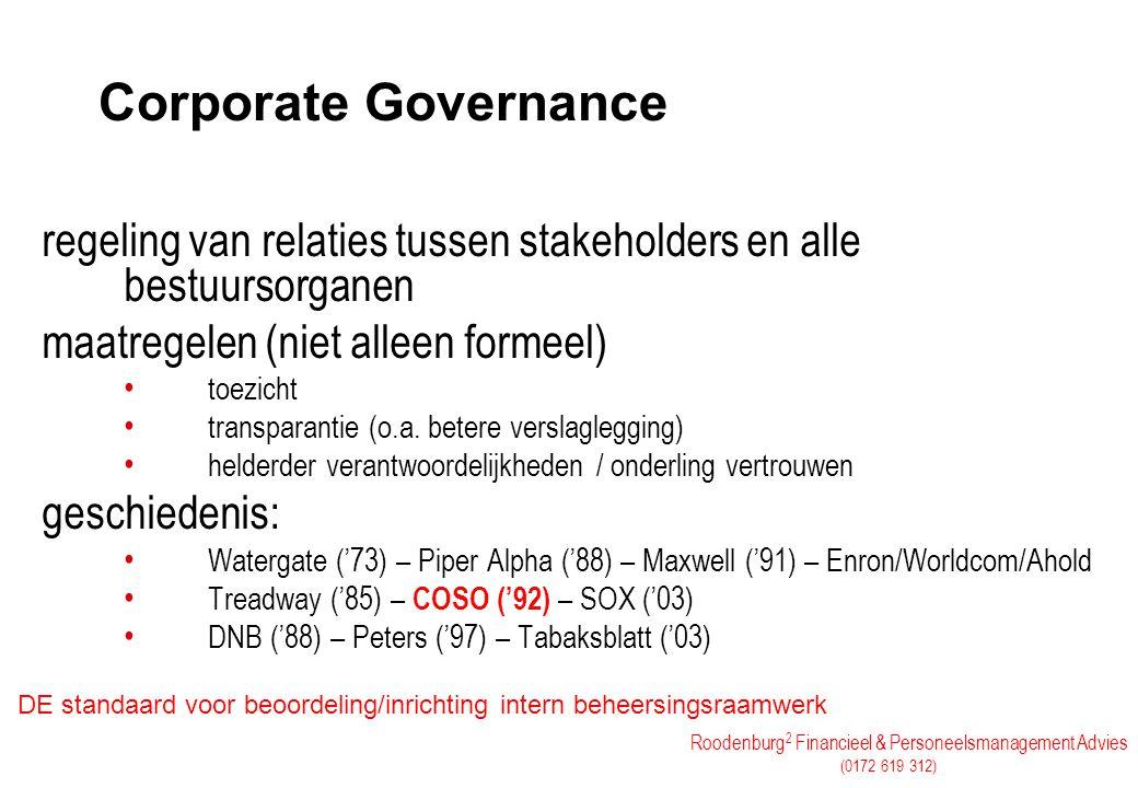 Roodenburg 2 Financieel & Personeelsmanagement Advies (0172 619 312) Corporate Governance regeling van relaties tussen stakeholders en alle bestuursor