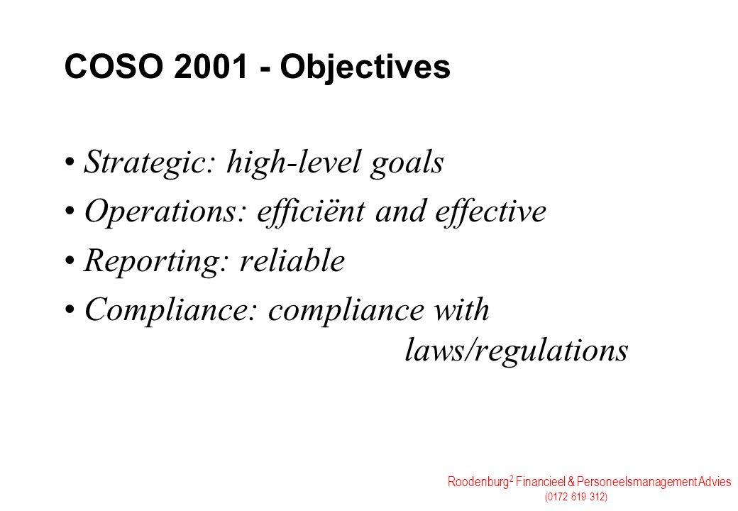 Roodenburg 2 Financieel & Personeelsmanagement Advies (0172 619 312) COSO 2001 - Objectives Strategic: high-level goals Operations: efficiënt and effe