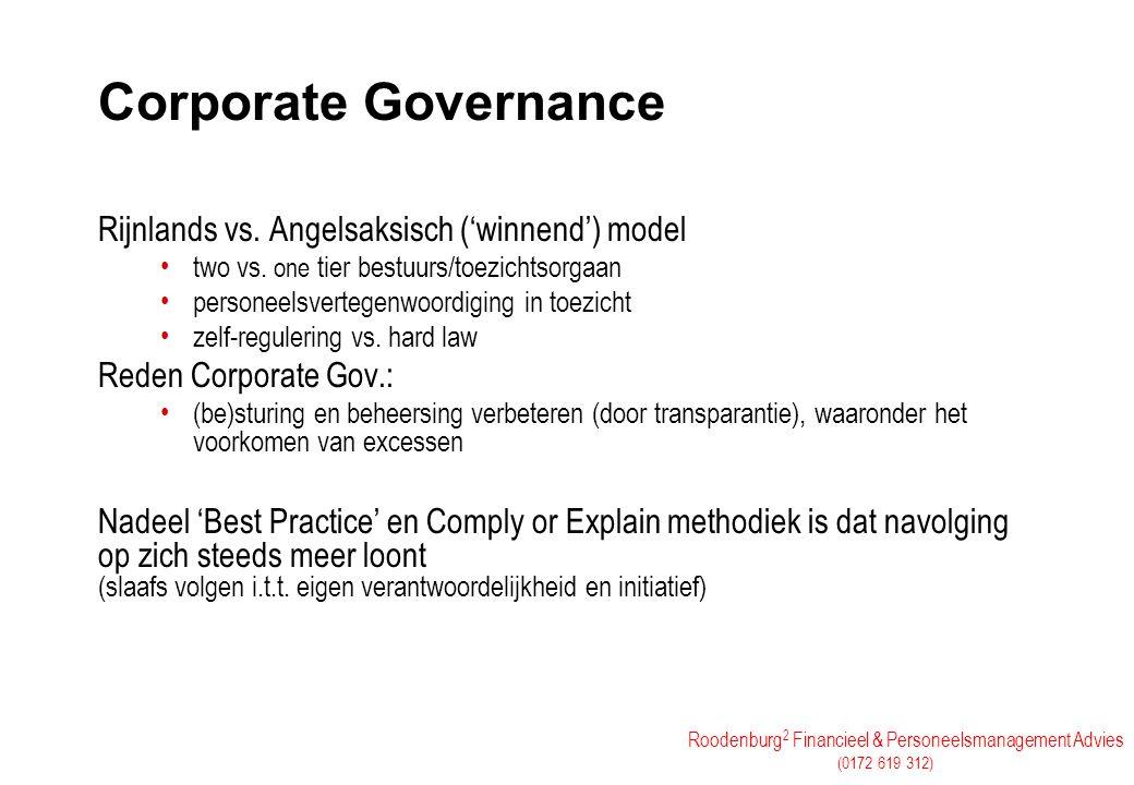 Roodenburg 2 Financieel & Personeelsmanagement Advies (0172 619 312) Corporate Governance Rijnlands vs. Angelsaksisch ('winnend') model two vs. one ti