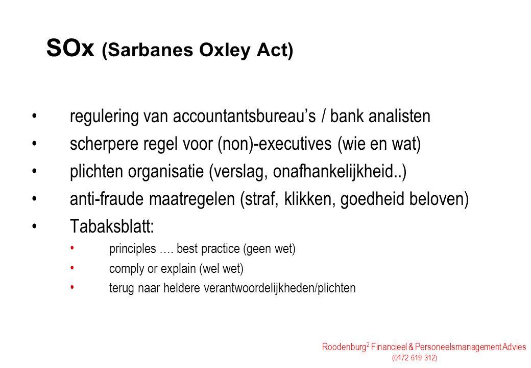 Roodenburg 2 Financieel & Personeelsmanagement Advies (0172 619 312) SOx (Sarbanes Oxley Act) regulering van accountantsbureau's / bank analisten sche