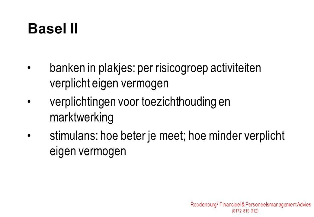 Roodenburg 2 Financieel & Personeelsmanagement Advies (0172 619 312) Basel II banken in plakjes: per risicogroep activiteiten verplicht eigen vermogen